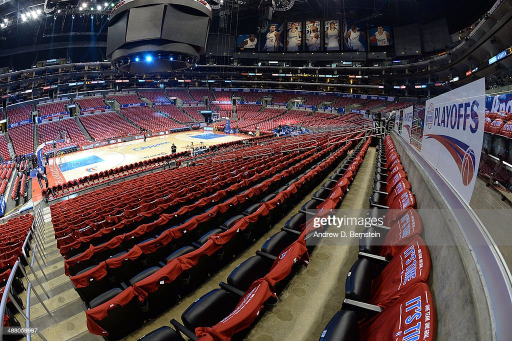 T-shirts sit on fans seats before Game Seven of the Western Conference Quarterfinals between the Los Angeles Clippers and the Golden State Warriors during the 2014 NBA Playoffs at Staples Center on May 3, 2014 in Los Angeles, California.