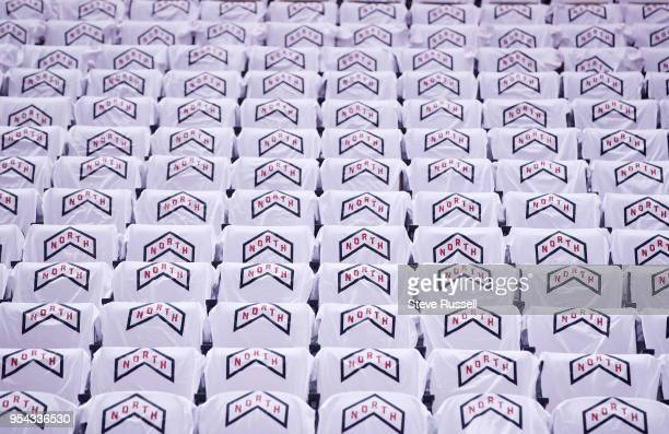 TORONTO ON MAY 3 Tshirts that read North sit on chairs as the Toronto Raptors play the Cleveland Cavaliers in the second round of the NBA playoffs at...
