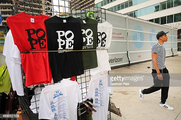 Tshirts with a picture of the Pope are viewed in downtown Philadelphia where Pope Francis is scheduled to visit on September 22 2015 in New York City...
