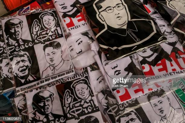 Tshirts with the faces of North Korean leader Kim Jong Un and US President Donald Trump are on display at local stores during the summit on February...