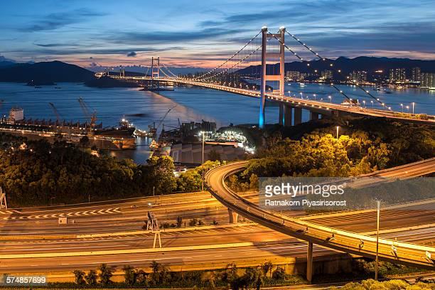 Tsing Ma Bridge at sunset in Hong Kong