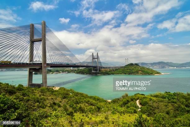 tsing ma bridge, hong kong - lantau stock pictures, royalty-free photos & images