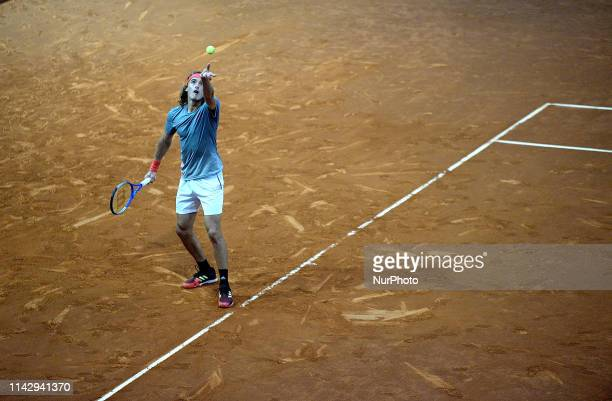 Tsitsipas of Greece plays in Quarterfinals match against Zverev of Germany in the Mutua Madrid Open at La Caja Magica in Madrid on 10th May 2019