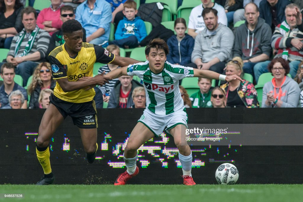 Tsiy Ndenge of Roda JC, Ritsu Doan of FC Groningen during the Dutch Eredivisie match between FC Groningen v Roda JC at the NoordLease Stadium on April 15, 2018 in Groningen Netherlands
