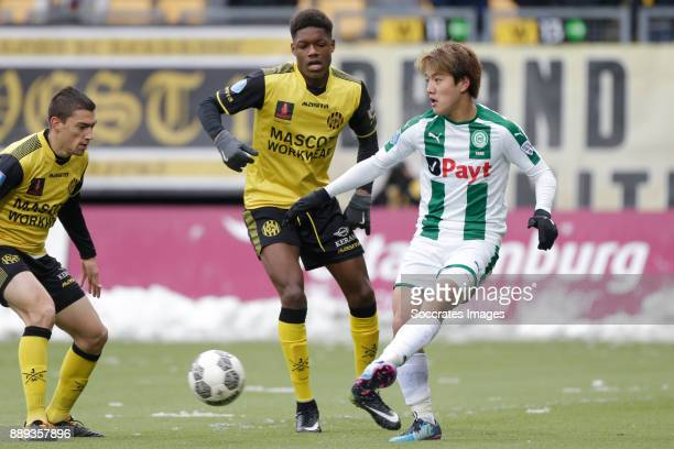 Tsiy William Ndenge of Roda JC Ritsu Doan of FC Groningen during the Dutch Eredivisie match between Roda JC v FC Groningen at the Parkstad Limburg...