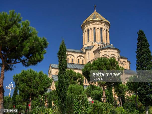 tsminda sameba cathedral in tbilisi. - georgian culture stock pictures, royalty-free photos & images