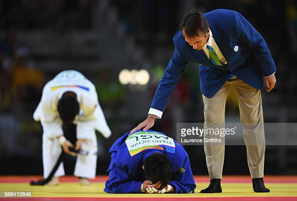 Tsogtbaatar TsendOchir of Mongolia reacts after being defeated by Won Jin Kim of Republic of Korea in the Men's 60 kg Judo on Day 1 of the Rio 2016...