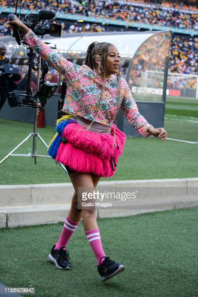 Tsonga rapper Sho Madjozi during the Carling Black Label Cup match between Orlando Pirates and Kaizer Chiefs at FNB Stadium on July 27 2019 in...