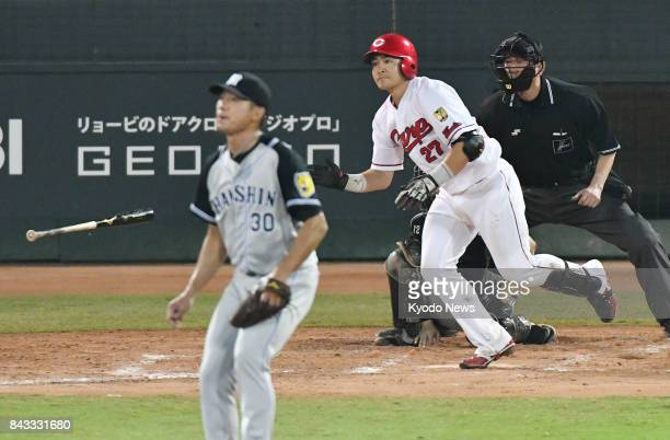 Tsubasa Aizawa hits a walkoff single in the 11th inning off Tsuyoshi Ishizaki to give the Hiroshima Carp a 43 win over the Hanshin Tigers at Mazda...
