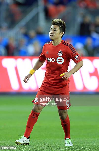 Tsubasa Endoh of Toronto FC watches a shot at goal during the first half of an MLS soccer game against FC Dallas at BMO Field on May 7 2016 in...