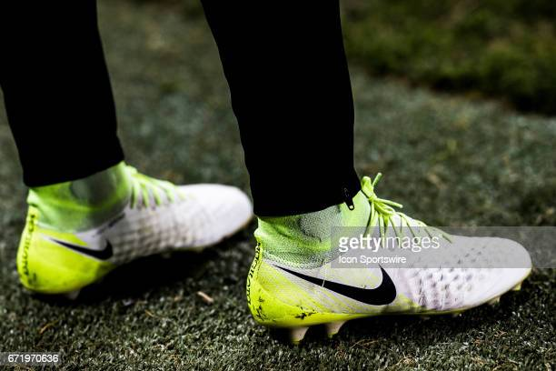 Tsubasa Endoh of Toronto FC wears Nike Magista on the sideline at an MLS Soccer regular season game between Toronto FC and Chicago Fire on April 21...
