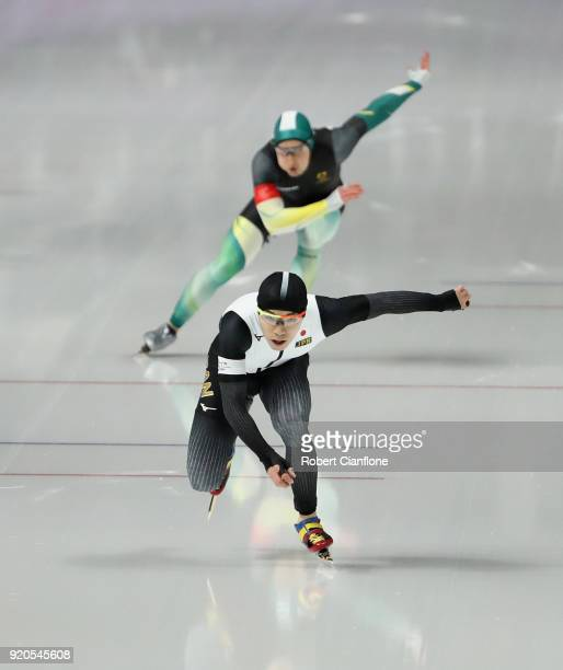 Tsubasa Hasegawa of Japan and Daniel Greig of Australia compete during the Men's 500m Speed Skating on day 10 of the PyeongChang 2018 Winter Olympic...