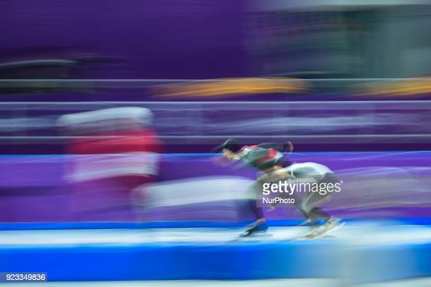 Tsubasa Hasegawa of Japan and Konrad Nagy of Hungary in 1000 meter speedskating at winter olympics Gangneung South Korea on February 23 2018