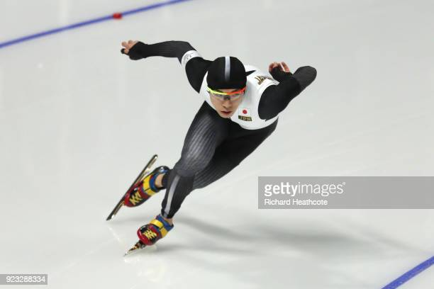 Tsubasa Hasegawa of Japan competes during the Men's 1000m on day 14 of the PyeongChang 2018 Winter Olympic Games at Gangneung Oval on February 23...