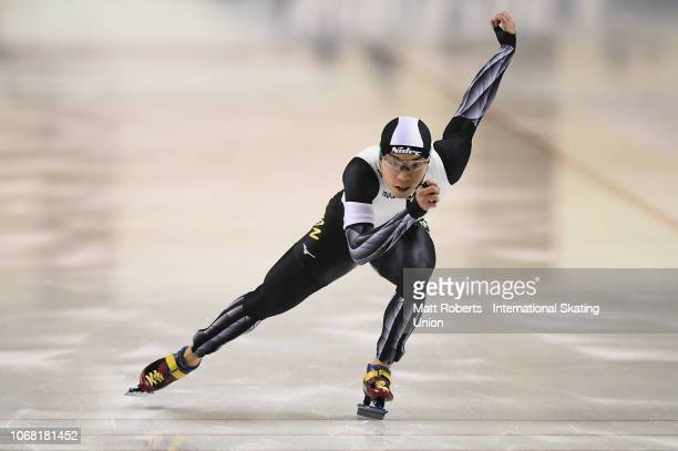 Tsubasa Hasegawa of Japan competes during the Men's 500m division B race on day one of the ISU World Cup Speed Skating at Meiji HokkaidoTokachi Oval...