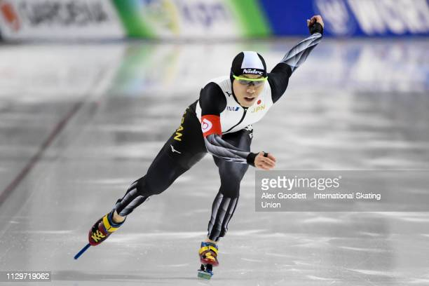 Tsubasa Hasegawa of Japan competes in the men's 2nd 500m duing the ISU World Cup Final at the Utah Olympic Oval on March 10 2019 in Salt Lake City...