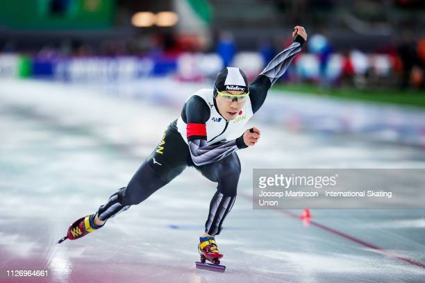 Tsubasa Hasegawa of Japan competes in the Men's 500m during day 2 of the ISU World Cup Speed Skating Hamar at Hamar Olympic Hall on February 02 2019...