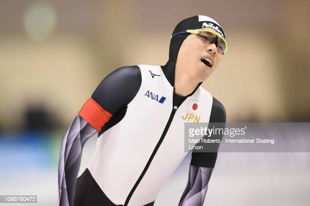 Tsubasa Hasegawa of Japan looks dejected during the Men's 500m Division A race on day two of the ISU World Cup Speed Skating at Meiji HokkaidoTokachi...