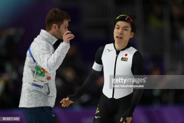 Tsubasa Hasegawa of Japan reacts after his race during the Speed Skating Men's 1000m on day 14 of the PyeongChang 2018 Winter Olympic Games at...