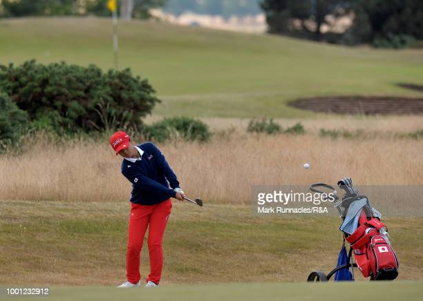 Tsubasa Kajitana of Japan plays her second shot at the 10th hole during the final day of the The Junior Open Championship at Eden Golf Course on July...