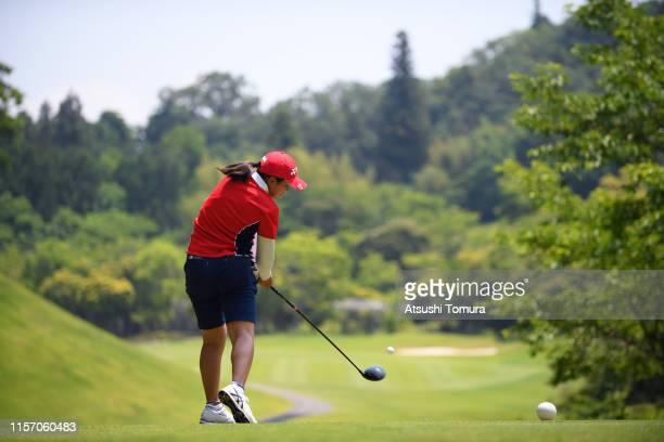 Tsubasa Kajitani of Japan hits her tee shot on the 7th hole during the third round of the Toyota Junior Golf World Cup at Chukyo Golf Club Ishino...