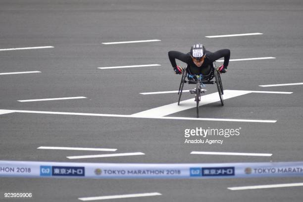 Tsubasa Kina crosses the finish line for the third place of the women weelchair race of the 12th Tokyo Marathon in Tokyo Japan on Sunday February 25...