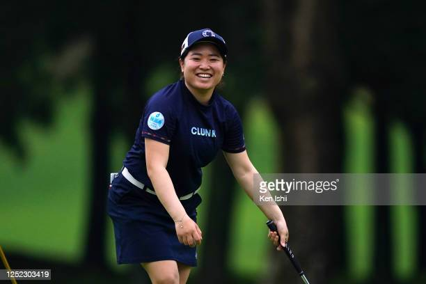 Tsugumi Miyazaki of Japan smiles after holing out on the 18th green during the first round of the Earth Mondamin Cup at the Camellia Hills Country...