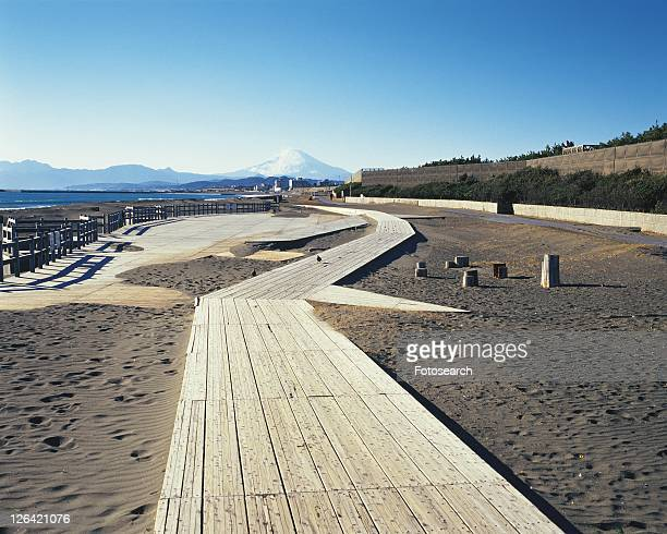 Tsujido Beach and Mt. Fuji, Shonan, Kanagawa Prefecture, Japan, Front View, Pan Focus