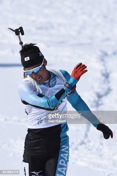 Tsukasa Kobonoki of Japan reacts during the men's biathlon 12.5 km pursuit on day seven of the 2017 Sapporo Asian Winter Games at Nishioka Biathlon...