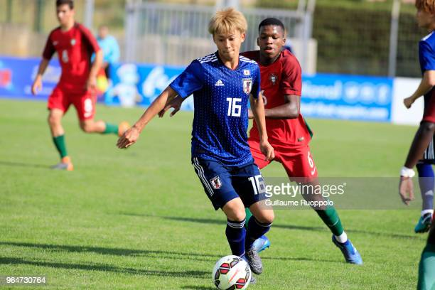 Tsukasa Morishima of Japan during U20 match between Portugal and Japan of the International Football Festival tournament of Toulon on May 31 2018 in...