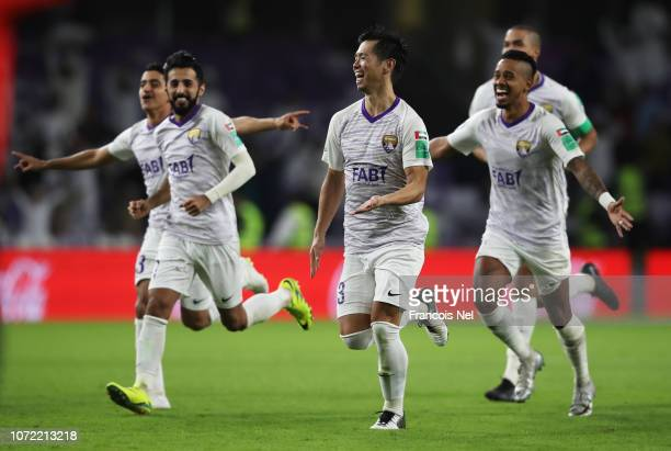 Tsukasa Shiotani of Al Ain and team mates celebrate penalty shoot out victory in the FIFA Club World Cup first round playoff match between Al Ain FC...