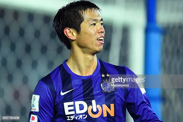 Tsukasa Shiotani of Sanfrecce Hiroshima celebrates after scoring a goal during the FIFA Club World Cup Playoff match for the quarter final between...