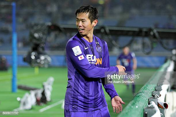 Tsukasa Shiotani of Sanfrecce Hiroshima celebrates scoring his team's second goal during FIFA Club World Cup Playoff match for the quarter final...