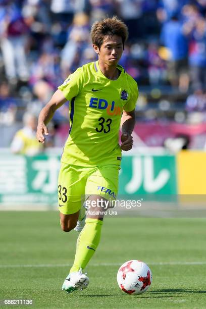 Tsukasa Shiotani of Sanfrecce Hiroshima in action during the JLeague J1 match between Ventforet Kofu and Sanfrecce Hiroshima at Yamanashi Chuo Bank...