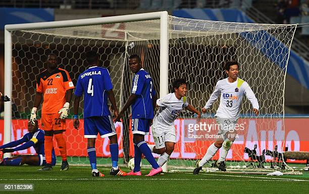 Tsukasa Shiotani of Sanfrecce Hiroshima scores during the the FIFA Club World Cup Quarter Final match between TP Mazembe and Sanfrecce Hiroshima at...