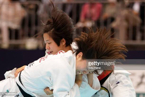 Tsukasa Yoshida and Momo Tamaoki compete in the Women's 57kg final match during day two of the All Japan Judo Championships By Weight Category at the...