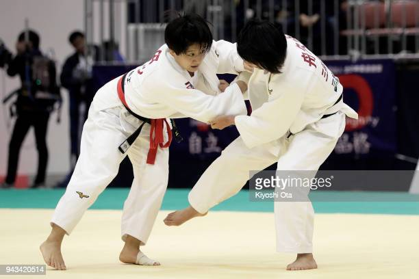 Tsukasa Yoshida competes against Haruka Funakubo in the Women's 57kg semifinal match on day two of the All Japan Judo Championships by Weight...