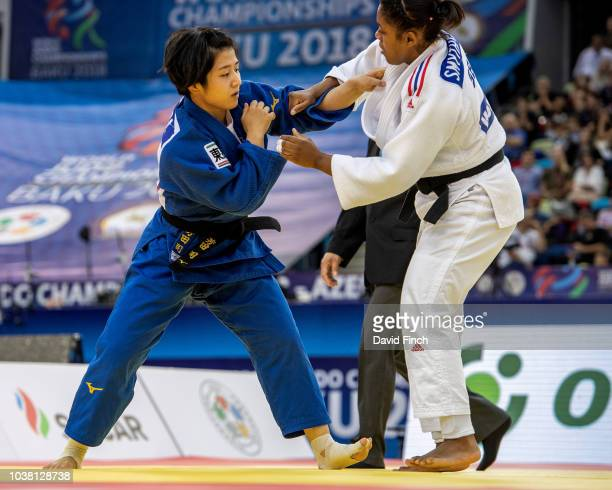 Tsukasa Yoshida of Japan defeated Nekoda SmytheDavis of Great Britain by two wazaris to win the u57kg gold medal during day three of the 2018 Judo...