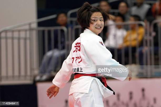 Tsukasa Yoshida reacts after defeating Momo Tamaoki in the Women's 57kg final match during day two of the All Japan Judo Championships By Weight...