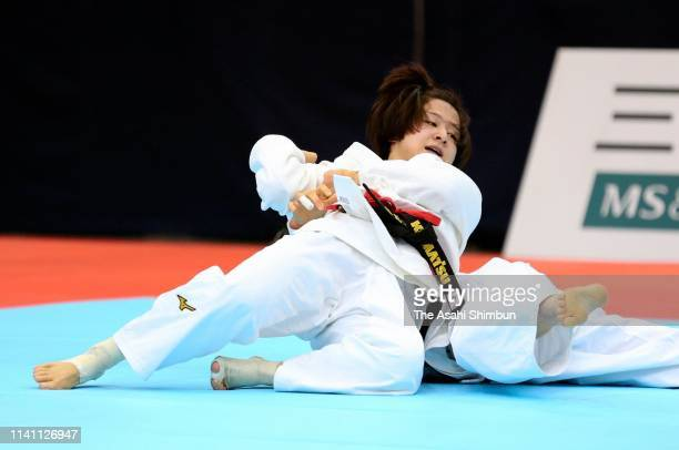 Tsukasa Yoshida throws Momo Tamaoki in the Women's 57kg finsl during day two of the All Japan Judo Championships By Weight Category at the Fukuoka...