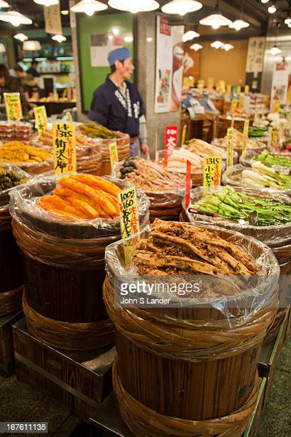 Tsukemono pickles at Nishiki Market a narrow shopping street made up of more than one hundred vendors Various kinds of fresh foods including many...