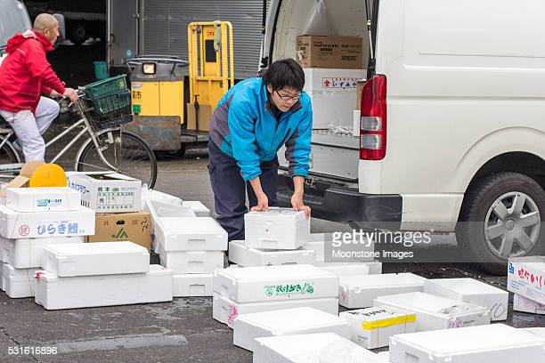 tsukiji fish market in tokyo, japan - meat processing plant stock pictures, royalty-free photos & images