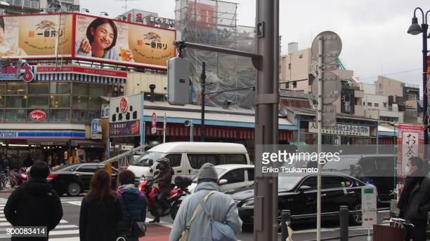 Tsukiji Outer Market from across the Shin-Ohashi street