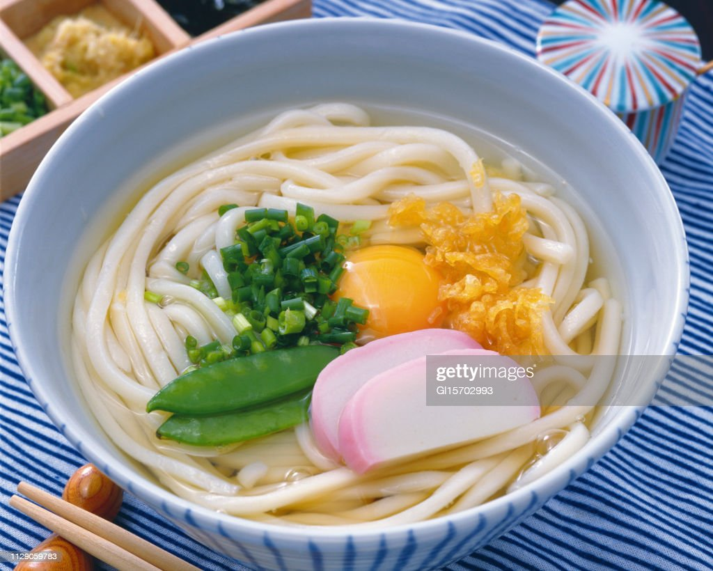 Tsukimi udon : Stock Photo