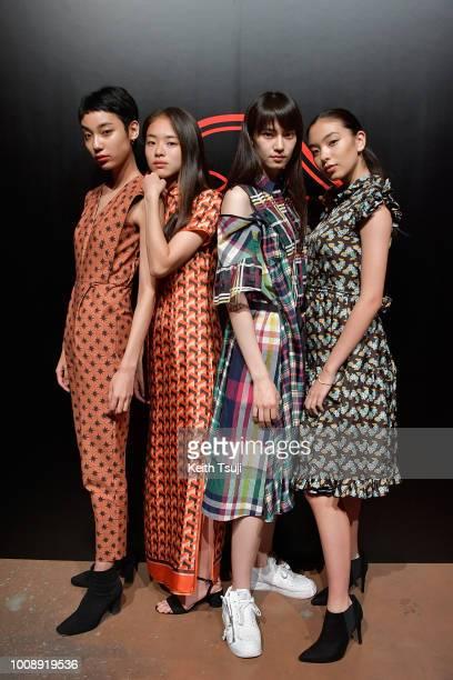 Tsukina Haruna Matsui Miki Ehara Moet attend the Shiseido Makeup Tokyo Launch Event on August 1 2018 in Tokyo Japan
