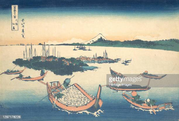Tsukudajima in Musashi Province , from the series Thirty-six Views of Mount Fuji , circa 1830-32. Artist Hokusai.