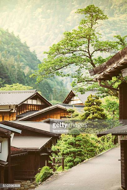 tsumago a traditional japanese village in the mountains - takayama city stock pictures, royalty-free photos & images
