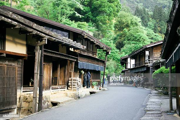 Tsumago, street in a traditional Japanese town. Kiso district
