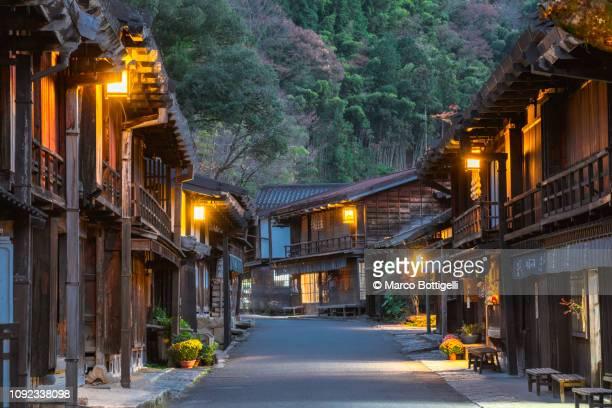 tsumago-juku post town, kiso valley, japan - tokai region stock pictures, royalty-free photos & images