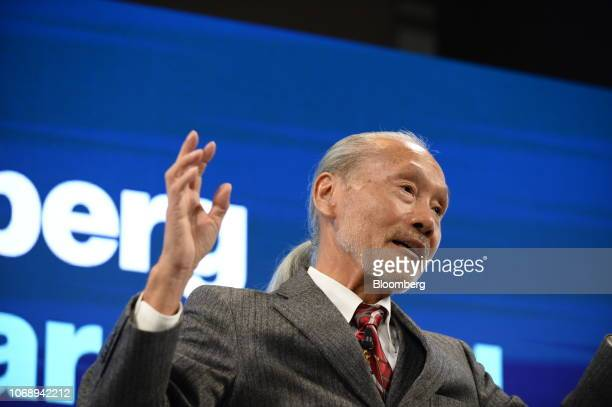 Tsumoru Shintake professor at Okinawa Institute of Science and Technology Graduate University speaks during the Bloomberg Year Ahead summit in Tokyo...